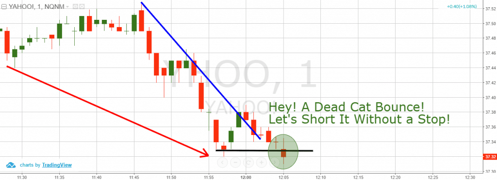 Trading a Dead Cat Bounce without a Stop Loss