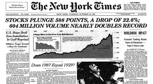 1987 Black Monday Stock Market Crash Source - NY Times