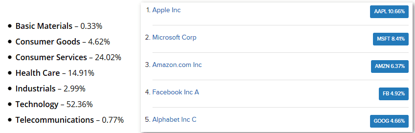 Nasdaq 100 Sector Weightage and Top 5 Companies