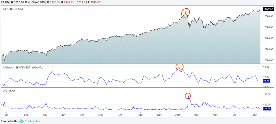 VIX with the bull bear ratio for S&P500