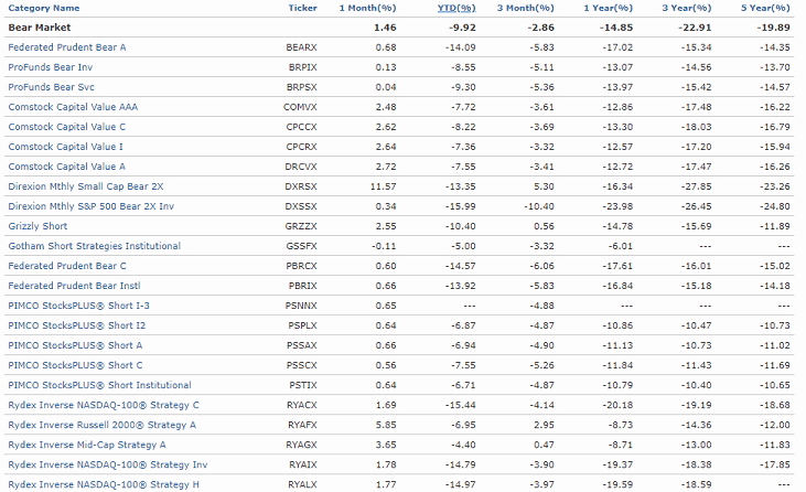 Bear market fund performance (Source: Morningstar)