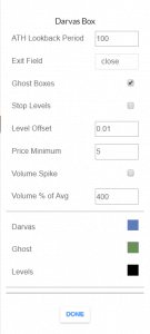 Darvas Box Settings