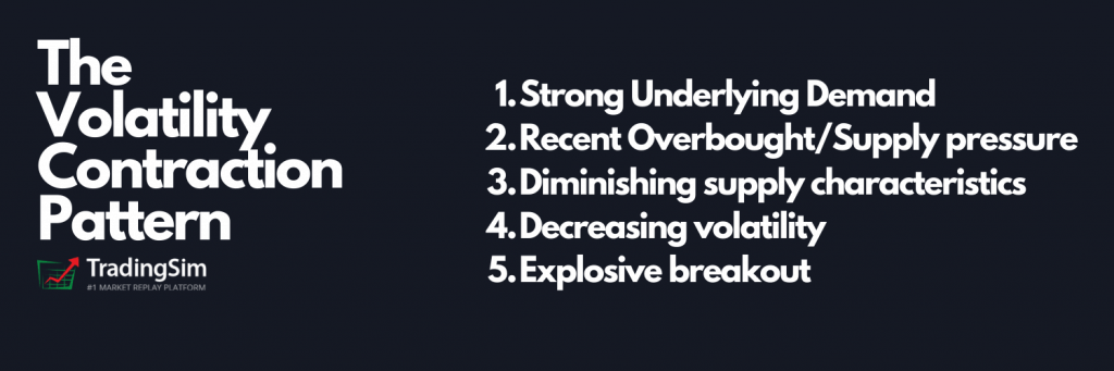 The Volatility Contraction Pattern Criteria:Strong Underlying Demand Recent Overbought/Supply pressure Diminishing supply characteristics Decreasing volatility Explosive breakout